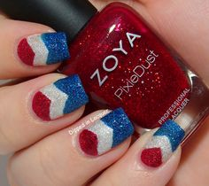 Textured Patriotic Chevron Nail Art