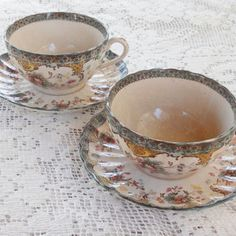 Set of Two Antique Adderly Spring Teacups and Saucers,  English Bone, W.A.A. Co., Majolica