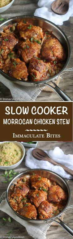 Slow Cooker Moroccan Chicken- Incredibly easy, tender and bursting with flavor. Paired with herb couscous for a great family meal.