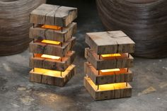 Exclusive and eco-friendly, wooden lamps made from old Siberian cedar beams