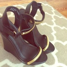 Cute wedges ! Black and gold wedges ! Never worn ! Charlotte Russe Shoes Wedges
