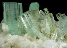 Detail of Beryl var. Aquamarine on Albite from Shigar Valley, Skardu District, Baltistan, Gilgit-Baltistan (Northern Areas), Pakistan