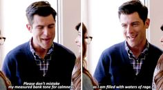 When he described his emotions in a totally reasonable and non-hyperbolic way: 19 Perfect Lines From Schmidt That Never Fail To Make You Laugh New Girl Memes, New Girl Funny, The Funny, Schmidt Quotes, New Girl Schmidt, New Girl Tv Show, Fail Girl, Jessica Day, Nick Miller