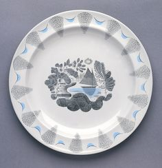 "Wedgewood Plate, """"Travel"""", ca. 1938 - designer Eric Ravilious, Glazed earthenware."