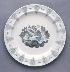 "Wedgewood Plate, """"Travel"""", ca. 1938 - designer Eric Ravilious, Glazed earthenware."