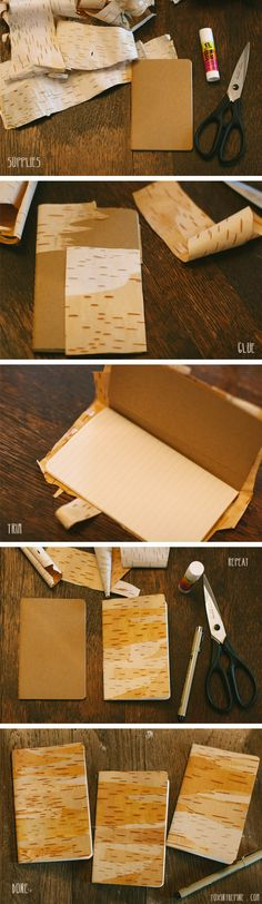 Birch-Covered Notebook | 32 Awesome Things To Make With Nature | These are so pretty...