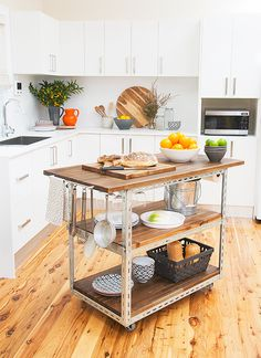 #reclaimed wood + steel =DIY industrial kitchen island.