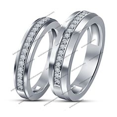 14K White Gold Men's Women Hisher Round White Diamond Love Couple Band Ring Set #br925silverczjewelry #CoupleBandRingSet