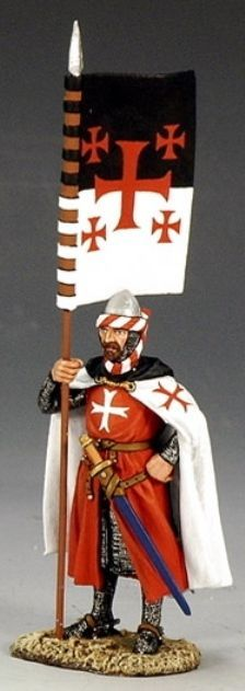 Medieval Knights & Saracens MK073 Templar Standard Bearer - Made by King and Country Military Miniatures and Models. Factory made, hand assembled, painted and boxed in a padded decorative box. Excellent gift for the enthusiast.