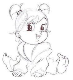 Cute Baby Drawings, Baby Cartoon Drawing, Girl Drawing Sketches, Cartoon Painting, Girly Drawings, Art Drawings For Kids, Art Drawings Sketches Simple, Cartoon Drawings, Baby Drawing Easy