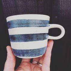 Nautical Stripe Mug - hand thrown mug by Laura Lane Ceramics