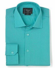 London Slim Fit Green Navy Star Print Shirt, , original