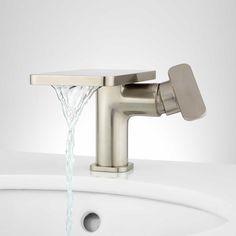 Wyatt Single-Hole Waterfall Bathroom Faucet - No Overflow - Brushed Nickel