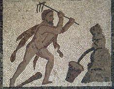 Hércules desviando el cauce de los ríos Alfeo y Peneo. Detalle del mosaico de los trabajos de Hércules. Ruth Totolhua