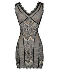 Black and Beige Lace Dress, Black Lace Bodycon Dress, Fitted Black Lace Dress, Black and Nude Lace Dress