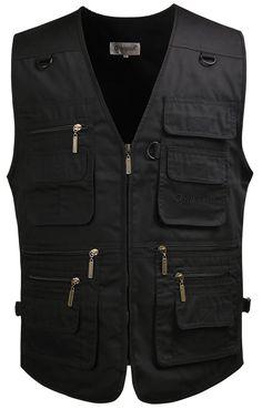 Mrignt Mens Outdoor Photography Multi-pockets Black Denim Vest (US M(Asia XL cc46e4d901d