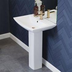 Foremost Series 1920 Pedestal Combo Bathroom Sink in White-FL-1920-4W - The Home Depot Pedestal Sink Bathroom, Bathroom Sink Tops, Downstairs Bathroom, Bathrooms, Bathroom Ideas, Bathroom Designs, Bathroom Inspiration, Small Bathroom, Small Pedestal Sink