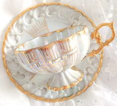 Antique Royal Sealy Inspired China Footed Teacup and Saucer White and Gold Lusterware Japan Iridescent Wedding Gift Inspiration Wedding Gift Inspiration, China Tea Cups, Teapots And Cups, My Cup Of Tea, Chocolate Pots, Tea Cup Saucer, Drinking Tea, Tea Time, Tea Party