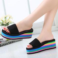Women Casual Flip Flops Foam Beach Sandals Rainbow High Platform Wedge Slipper S - US$9.95
