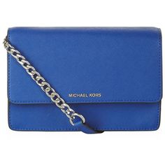 MICHAEL Michael Kors Daniela Cross Body Bag ($205) ❤ liked on Polyvore featuring bags, handbags, shoulder bags, purses, blue purse, over the shoulder bags, blue crossbody purse, mini shoulder bag and over the shoulder purse