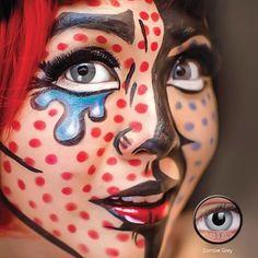 Zombie grey contacts Halloween Contacts, Halloween Face Makeup, Grey Contacts, Halloween Ideas, Lenses, Amazing, Halloween Prop