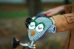 Sleeping Owl Bike Hand Warmers Gloves Wool Crochet Autumn Fall Winter Cold Days Unisex Woman Man Teens Cozy Grey Big Eyes
