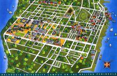 """graphic of area around Dalhousie University in Halifax Map, Nova Scotia, Time Travel, City Photo, University, Maps, Twitter, Board, Blue Prints"