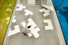 Tetris Table by People's Industrial Design Office slots together in different formations