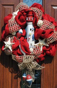 ✯Noël ✯I love it! (Burlap Beach Lighthouse Wreath by on Etsy) Deco Mesh Wreaths, Door Wreaths, Yarn Wreaths, Floral Wreaths, Burlap Wreaths, Holiday Wreaths, Holiday Decor, Winter Wreaths, Spring Wreaths