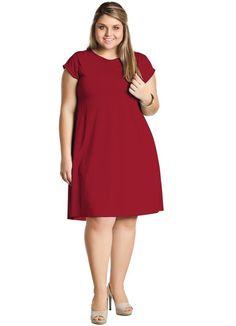 Vestido Liso Plus Size Vermelho - Posthaus