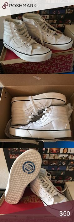 WHITE VANS SK8-HI LITE Never worn white Sk8-HI Lite (lightweight + ultra cushion) in white. There is a small black mark on the shoe which can probably be cleaned off with shoe cleaner, I just didn't wanna mess with the shoe since it's still brand new. Box is slightly damaged but not ripped. Vans Shoes Sneakers