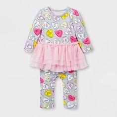 e8974907f Baby Girls' Long Sleeve Conversation Hearts Tutu Romper - Cat & Jack™  Gray/Pink 0-3M