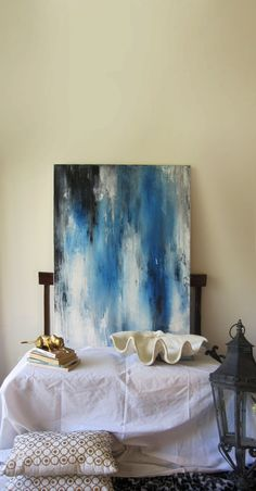 40 x 30 Abstract painting blue blackwhite by ArtByCornelia on Etsy, $1700.00