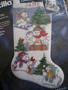 "Bucilla Counted Cross Stitch Stocking Kit,WHITE CHRISTMAS,Bears,Winter Fun,18"""