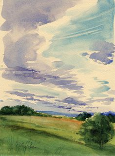 Late Afternoon Clouds -Original Plein Air Watercolor. $300.00, via Etsy. I just spent my spending money on a micro hi fi, which was sensible since it will get plenty of use by the whole family, but if I hadn't, I would have bought this.