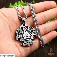 """The word """"Valknut"""" consists of two different words: """"valr"""" meaning the fallen and """"knut"""" meaning knot. In Norse mythology, Valhalla is known as the Paradise of the Fallen where Odin the Allfather will welcome the slain warriors. Tiny Necklace, Dainty Gold Necklace, Triangle Necklace, Pendant Necklace, Necklaces, Arrow Necklace, Viking Jewelry, Gothic Jewelry, Raven And Wolf"""