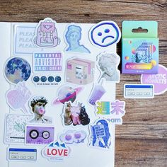 Vaporwave vibe stickers with pastels Perfect as laptop stickers Contains 46 pcs/box Sticker box is Meme Stickers, Tumblr Stickers, Diy Stickers, Laptop Stickers, Label Stickers, Journal Stickers, Scrapbook Stickers, Diy Scrapbook, Scrapbooking