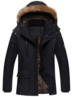Ericdress Flocking Thicken Hooded Zip Winter Warm Men's Parka Coat