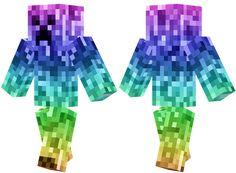 Download: http://minecrafteon.com/rainbow-creeper-minecraft-skin/