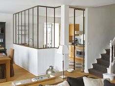 A glass wall between kitchen and living room is a perfect solution if you love open space but you need to divide the two rooms. Style At Home, Home Interior Design, Interior Architecture, My New Room, Home And Living, Interior Inspiration, Home Kitchens, Small Spaces, Living Spaces