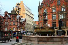 Fountain in Albert Square, Manchester, UK, 2011