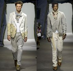 Greg Lauren 2015 Spring Summer Mens Runway Catwalk Looks - New York Fashion Week NYFW - Denim Jeans Destroyed Destructed Ripped Vintage Lace Up Hoodie Sweatshirt Military Green Army Tent Boots Blazer Multi Panel Pinstripes Scarf Shawl Long Sleeve Suspenders Henley Shirt Sweater Jumper Drawstring Field Jacket Outerwear Coat Black Panels Linen Vest Double Breasted Suit Pants Trousers
