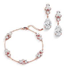 "Buy Mariell CZ Bridal Bracelet & Matching Earrings, Rose Gold Jewelry Set Adjustable Bracelet 7 ¼"" to 8 ¾"" Women's Jewelry Sets, Wedding Jewelry Sets, Women Jewelry, Rose Gold Jewelry, Rose Gold Earrings, Wedding Bracelet, Adjustable Bracelet, Earring Set, Halo"