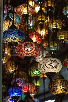 Colored turkish lamps hanging at the Grand Bazaar in Istanbul, Turkey photo