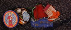 Medieval sewing kit shown on Lady Malina's web site.