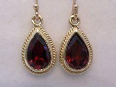 Vintage Garnet Earrings, 9ct 9k 10k Solid Gold, E26, womens drop, ladies antique garnet victorian style, hook wire filigree earrings