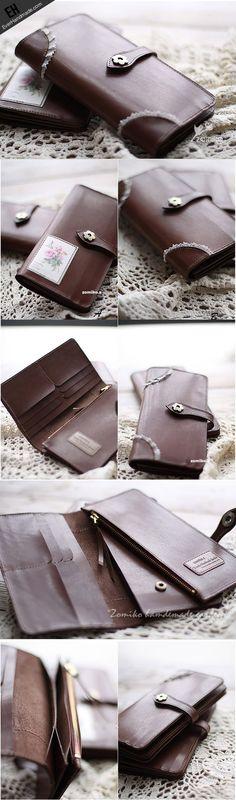Handmade vintage coffee sweet cute leather long bifold wallet for wome | EverHandmade