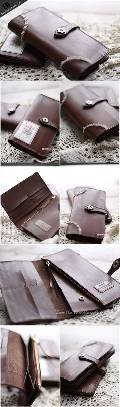 Handmade vintage coffee sweet cute leather long bifold wallet for wome | EverHandmade
