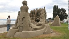 The International Sand Sculpture Festival in Rohrschach, Switzerland, offers carvers a chance to create their art in a park along picturesque lake Bodensee with the Swiss Alps not far away.