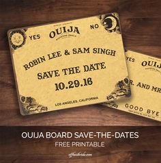 Ouija board save-the-dates free wedding printable from @offbeatbride
